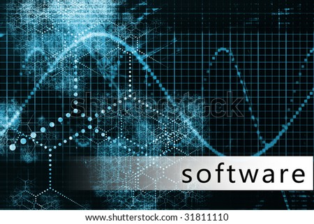 Software in a Blue Data Background Illustration