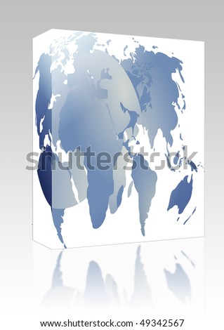 Software package box Abstract design of international maps and globe