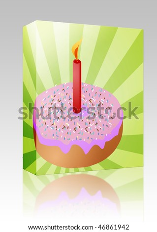 Software package box Birthday candle with lit candle festive illustration - stock photo