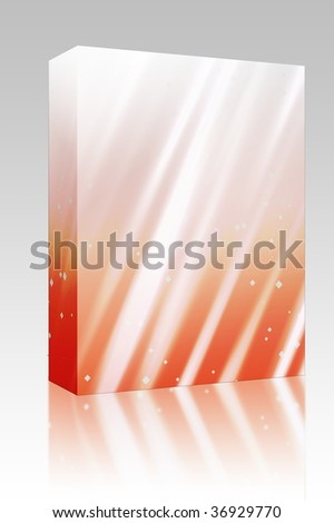Software package box Bright glowing light streaks with sparkling energy