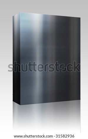 Software package box Brushed glossy metal surface, scratched texture background - stock photo