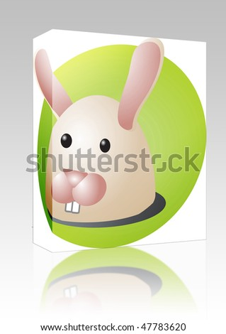 Software package box Cute cartoon illustration of a rabbit head
