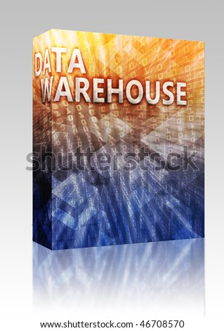 Software package box Data warehouse abstract, computer technology concept illustration - stock photo