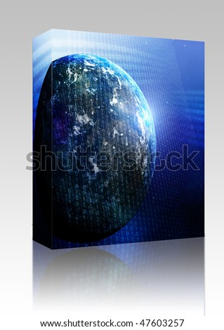 Software package box digital data transferwith stock illustration software package box digital data transferwith globe world map gumiabroncs Images