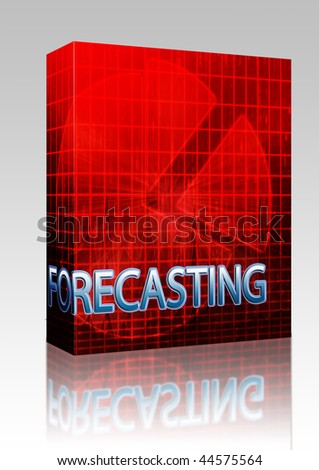 Software package box Illustration of forecasting budgeting finance and business pie chart - stock photo