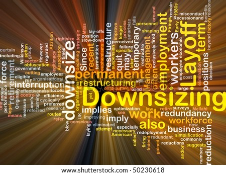 Software package box Word cloud concept illustration of downsizing restructuring - stock photo