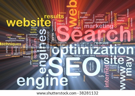 Software package box Word cloud concept illustration of SEO Search Engine Optimization - stock photo