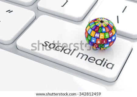 Software, social media concept. Colorful icon buttons sphere on the computer keyboard - stock photo