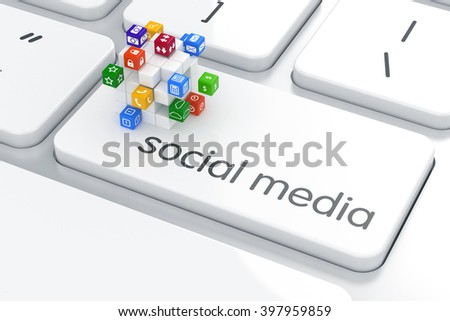 Software, social media concept. Colorful icon buttons sphere on the computer keyboard. 3d rendering - stock photo