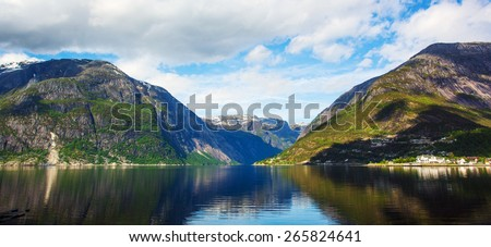 Sogne fjord, Norway. May  - stock photo