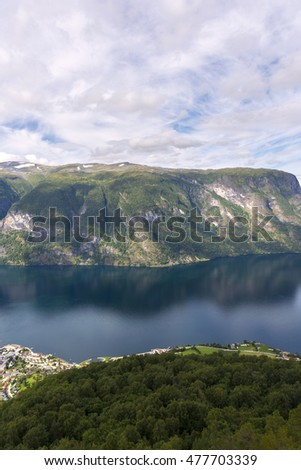 Sognefjord from Stegastein view point in Norway