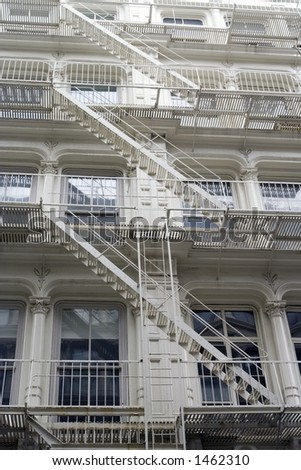 Soho New York fire escapes - stock photo