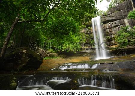 Soi Sawan waterfall National Park in Pha Taem Ubon Ratchathani Thailand. - stock photo