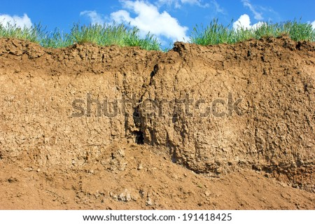 Soil cross section, grass and sky - stock photo