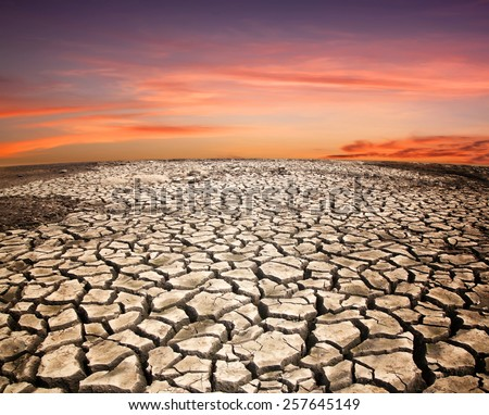 Soil drought cracked landscape sunset