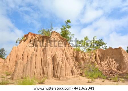 Soil erosion of rain and wind called Sao Din Na Noi, Nan District Thailand  - stock photo