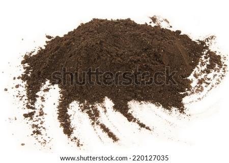 Soil heap isolated on white background - stock photo