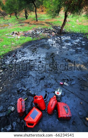 Soil polluition with petrochemical products - stock photo