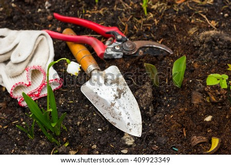 soil, to care for plants, gardening tools work on the farm, gloves, flower - stock photo