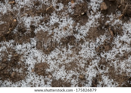 soil with snow flake background - stock photo