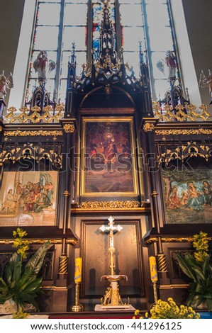 Sokolow Malopolski, Poland - June 9, 2016: The image of Mary in the crowns of the Shrine of Our Lady Queen of the World - Nursing Human Roads Sokolow Malopolski in the Church of St. John - stock photo