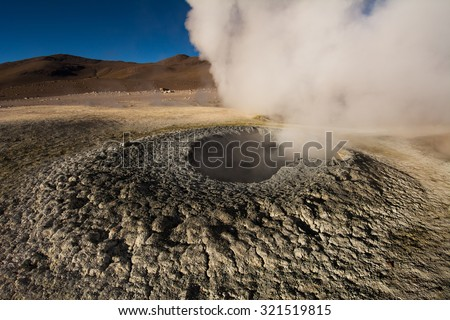 Sol de Manana geysers, Salar de Uyuni tour, Andes, Bolivia - stock photo