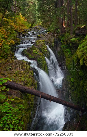 Sol Duc Falls in Olympic National Park, Washington USA.