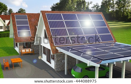 Solar an Wind Power House 3d concept, Solar Panels With Lens Flare, Renewable Energy House, Solar Thermal Energy System,  House With Alternative Energy Sourses, Solar Panels On a Roof - 3D Rendering - stock photo