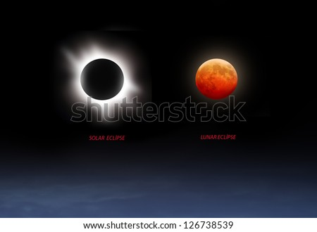 Solar and Lunar Eclipse - stock photo