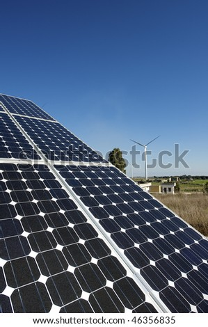 solar and wind energy - stock photo