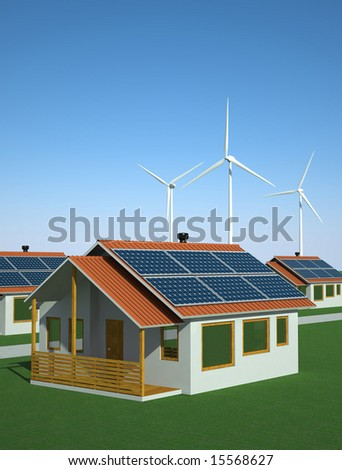Solar and Wind Power Concept - stock photo