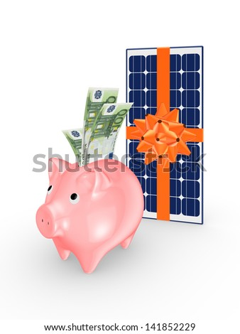 Solar battery and pink piggy bank.Isolated on white.3d rendered.