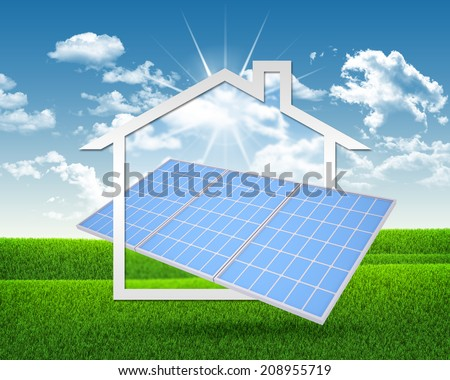Solar battery and symbol of house - stock photo