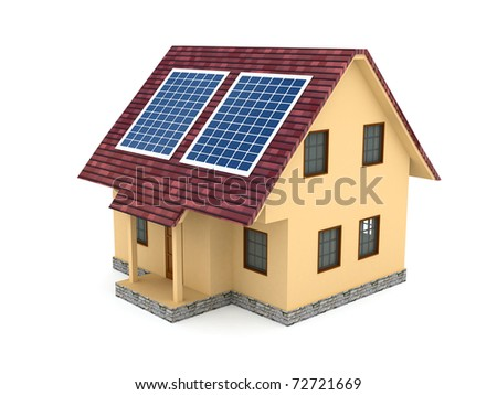 Solar battery over white background. computer generated image - stock photo