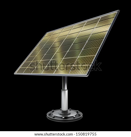 Solar battery panel isolated on black background 3d illustration. high resolution