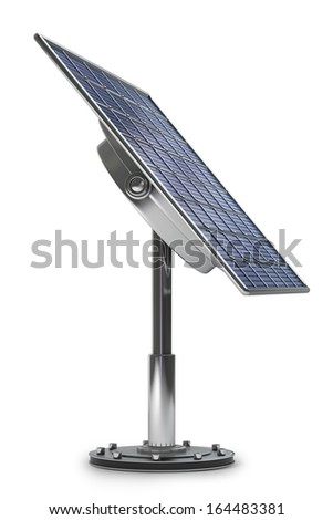 Solar battery panel isolated on white background High resolution 3d  - stock photo