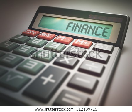 Solar calculator with the word FINANCE on the display. 3D illustration, concept image of Business and Finance.