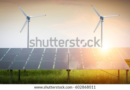 Solar Cell and Wind turbines generating electricity
