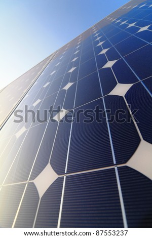 Solar cell battery panel detail and close-up - stock photo