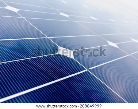 Solar cell battery panel with selected focus filling frame - stock photo