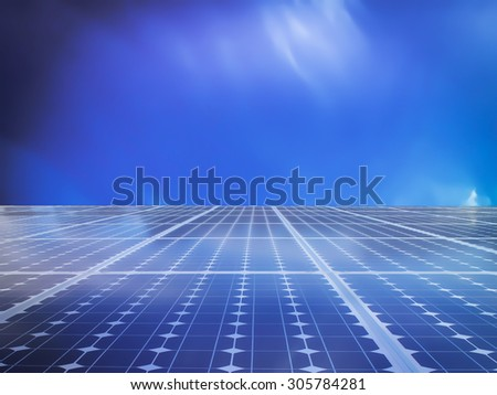solar cell energy grid technology in  sky background - stock photo