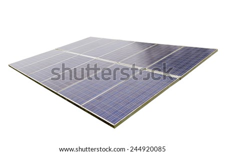 solar cell energy on white background - stock photo