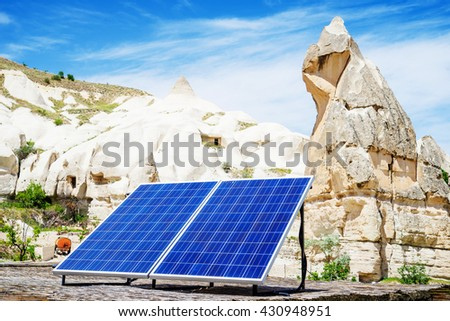 Solar cell on house rooftop in Cappadocia  - stock photo