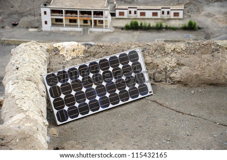 Solar cell  on the terace of Diskit Monastery, Ladakh - stock photo
