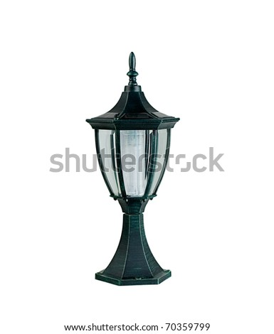 Solar cell outdoor lamp for saving the energy and the world - stock photo