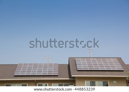 solar cell panel on house roof