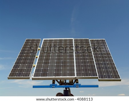 Solar cell panels over blue sky