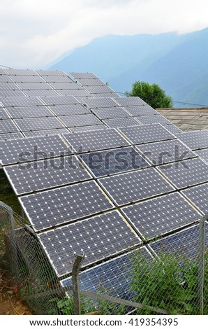 Solar cell panels with cloudy in Ghandruk village , Nepal