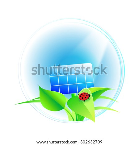 solar cell with ladybug - stock photo