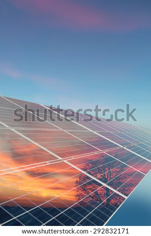 Solar cell with reflection of orange sundown with tree on clear blue sky background, vertical picture - stock photo